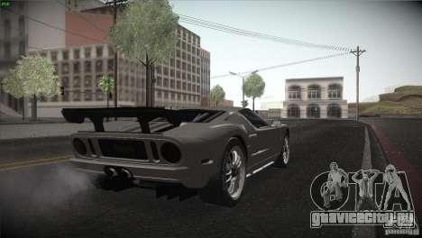 Ford GT для GTA San Andreas вид изнутри