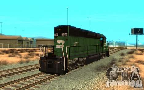 Локомотив SD 40 Burlington Northern 8072 для GTA San Andreas вид сзади слева