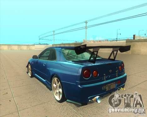 Nissan Skyline GT-R R34 M-Spec Nur для GTA San Andreas вид сзади слева