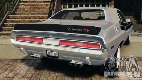 Dodge Challenger RT 1970 v2.0 для GTA 4 вид сзади слева