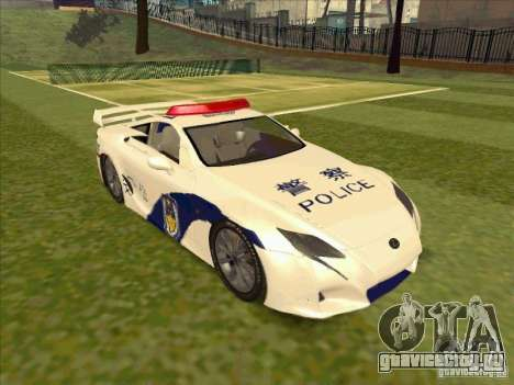 Lexus LF-A China Police для GTA San Andreas вид справа