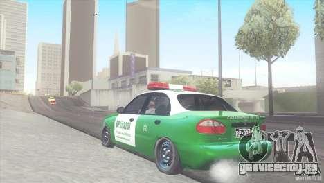 Daewoo Lanos De Carabineros De Chile для GTA San Andreas вид сзади слева