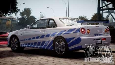 Nissan Skyline GT-R34 FNF для GTA 4 вид слева