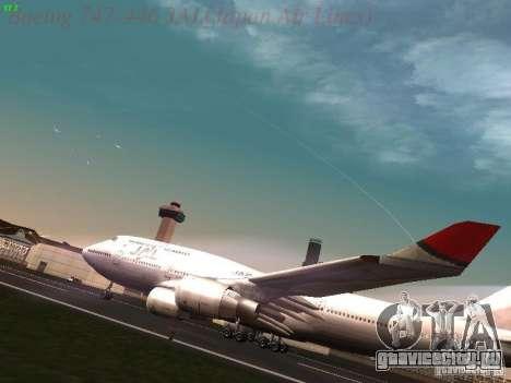 Boeing 747-446 Japan-Airlines для GTA San Andreas вид слева