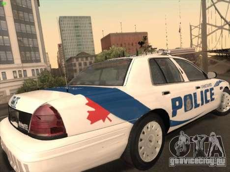 Ford Crown Victoria Vancouver Police для GTA San Andreas вид справа