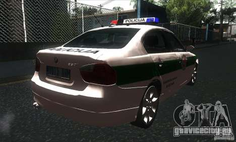 BMW 330 E90 Policija для GTA San Andreas вид справа