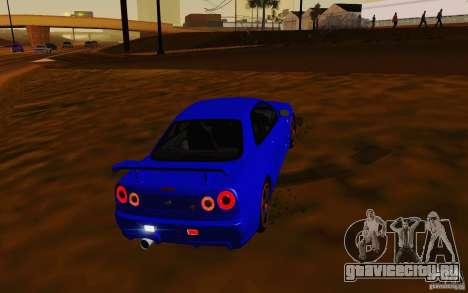 Nissan Skyline R34 GT-R V2 для GTA San Andreas вид сзади