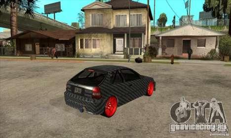 Honda Civic Carbon Latvian Skin для GTA San Andreas вид сзади