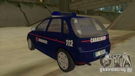 Opel Corsa 2005 Carabinieri для GTA San Andreas вид сзади