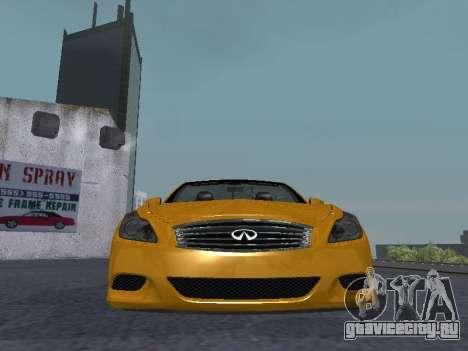 Infiniti G37 S Cabriolet для GTA San Andreas вид изнутри