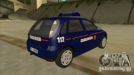 Opel Corsa 2005 Carabinieri для GTA San Andreas вид справа