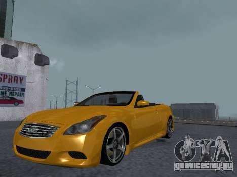 Infiniti G37 S Cabriolet для GTA San Andreas вид сзади