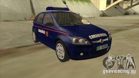 Opel Corsa 2005 Carabinieri для GTA San Andreas вид слева