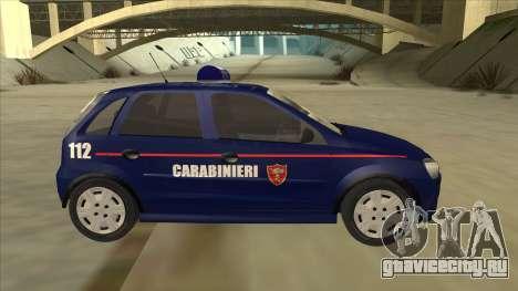 Opel Corsa 2005 Carabinieri для GTA San Andreas вид сзади слева