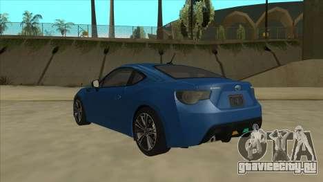Subaru BRZ 2013 Tunable для GTA San Andreas вид сзади