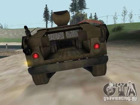 Hamvee M-1025 из Battlefiled 2 для GTA San Andreas вид сзади
