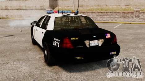 Ford Crown Victoria Police GTA V Textures ELS для GTA 4 вид сзади слева