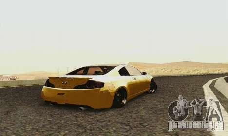 Infiniti G35 Hellaflush для GTA San Andreas вид сзади