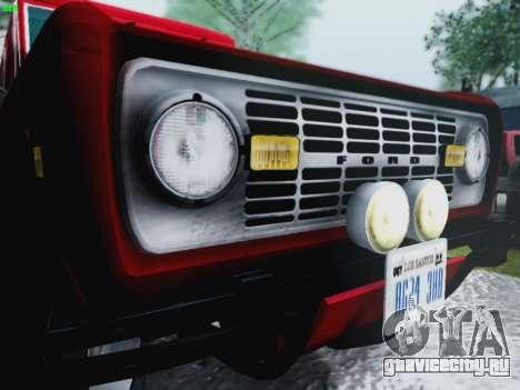 Ford Bronco 1966 для GTA San Andreas вид изнутри