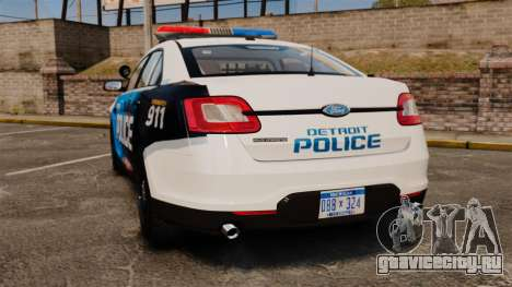 Ford Taurus 2010 Police Interceptor Detroit для GTA 4 вид сзади слева