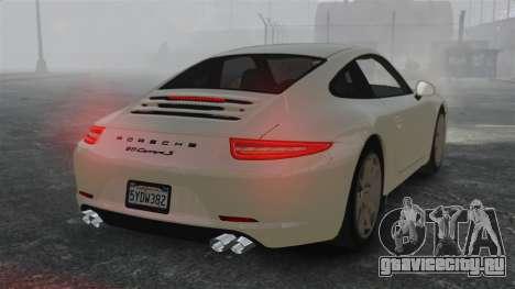 Porsche 911 Carrera S 2012 v2.0 для GTA 4 вид сзади слева