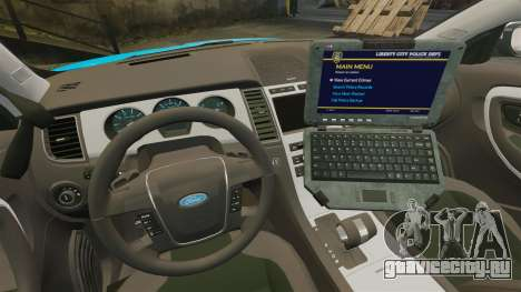 Ford Taurus 2010 Police Interceptor Detroit для GTA 4 вид изнутри