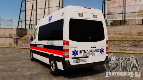Mercedes-Benz Sprinter Zagreb Ambulance [ELS] для GTA 4 вид сзади слева