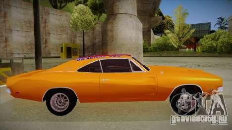 Dodge Charger 1969 (general lee) для GTA San Andreas вид сзади слева