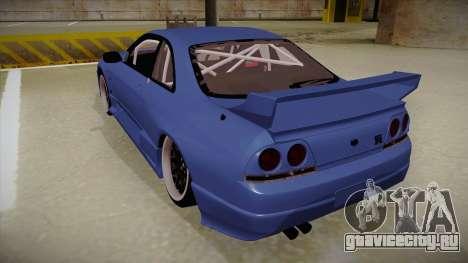 Nissan Skyline R33 JDM для GTA San Andreas вид сзади