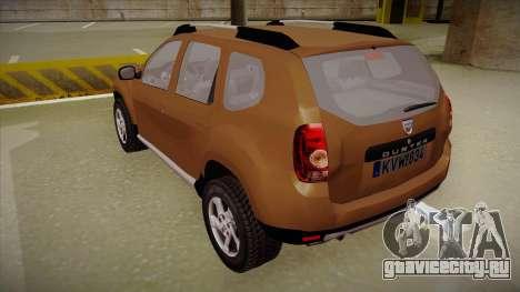 Dacia Duster Elite для GTA San Andreas вид сзади