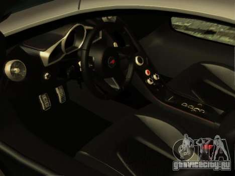 McLaren MP4-12C WheelsAndMore для GTA San Andreas вид изнутри