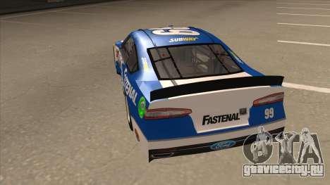 Ford Fusion NASCAR No. 99 Fastenal Aflac Subway для GTA San Andreas вид сзади