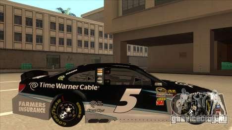 Chevrolet SS NASCAR No. 5 Time Warner Cable для GTA San Andreas вид сзади слева