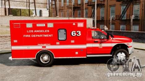 Dodge Ram 3500 2011 LAFD Ambulance [ELS] для GTA 4 вид слева
