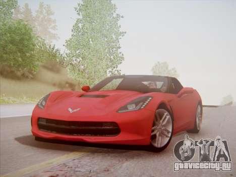 Chevrolet Corvette C7 Stingray 2014 для GTA San Andreas вид изнутри