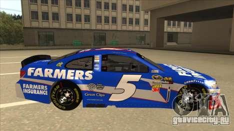 Chevrolet SS NASCAR No. 5 Farmers Insurance для GTA San Andreas вид сзади слева