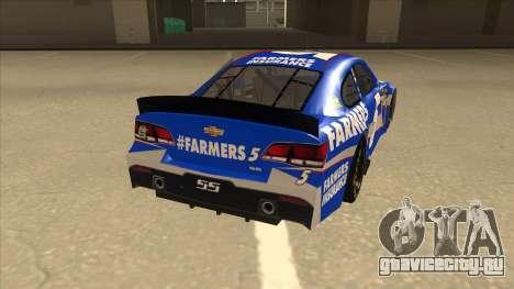 Chevrolet SS NASCAR No. 5 Farmers Insurance для GTA San Andreas вид справа