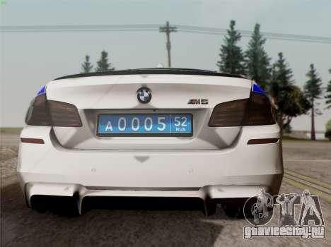 BMW M5 F10 УМВД для GTA San Andreas вид справа