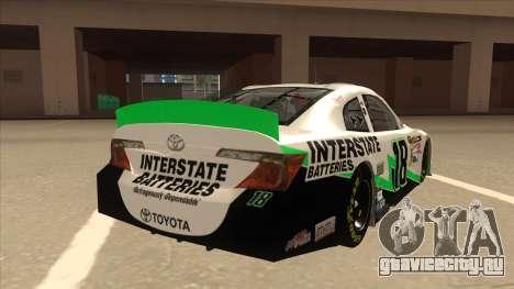 Toyota Camry NASCAR No. 18 Interstate Batteries для GTA San Andreas вид справа