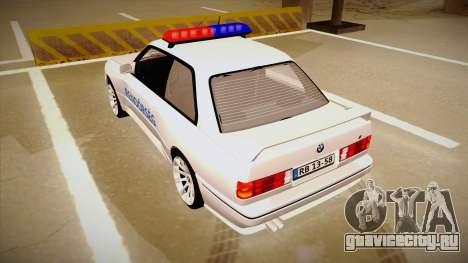 BMW M3 E30 Rendőrség для GTA San Andreas вид сзади