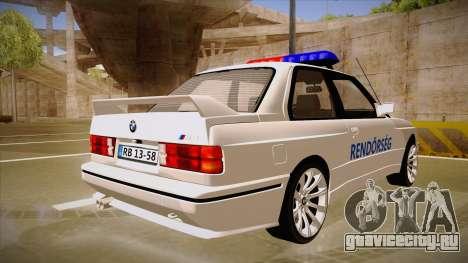 BMW M3 E30 Rendőrség для GTA San Andreas вид справа