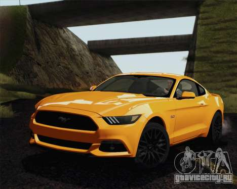 Ford Mustang GT 2015 для GTA San Andreas вид изнутри