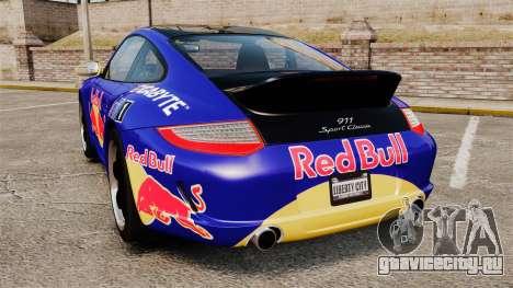 Porsche 911 Sport Classic 2010 Red Bull для GTA 4 вид сзади слева