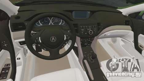 Acura TSX Mugen 2010 для GTA 4 вид изнутри
