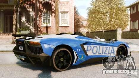 Lamborghini Aventador J Police для GTA 4 вид справа