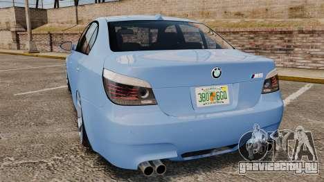 BMW M5 2009 для GTA 4 вид сзади слева