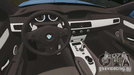 BMW M5 2009 для GTA 4 вид изнутри