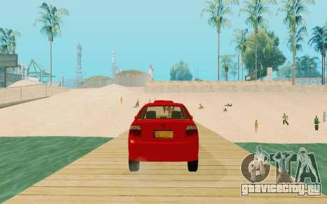 Toyota Vios Taxi Costa Rica для GTA San Andreas вид сзади слева