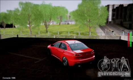 Mitsubishi Lancer Evolution X Stance Work для GTA San Andreas вид сзади слева