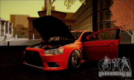 Mitsubishi Lancer Evolution X Stance Work для GTA San Andreas вид сбоку